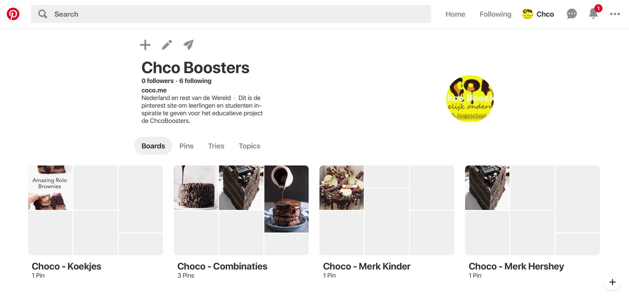 Pinterest account van het ChcoBoosters educatief project.
